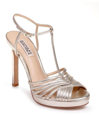 Badgley Mischka Collection Angelica Metallic T-Strap Sandal