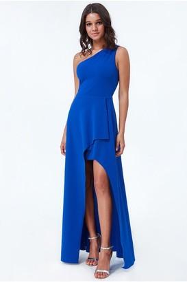 fd6f72abdcd at Little Mistress · Goddiva Royal Blue One Shoulder High Leg Maxi Dress
