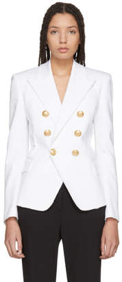 Balmain White Denim Six-Button Blazer