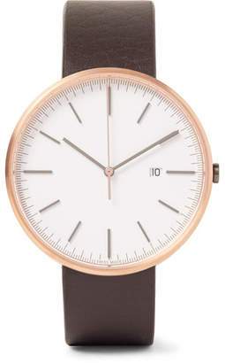 Uniform Wares M40 Rose Gold Pvd-Coated Stainless Steel And Leather Watch