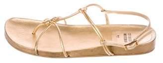 Stuart Weitzman Metallic Ankle Strap Sandals