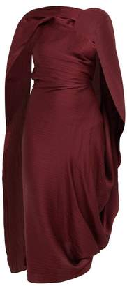 Roland Mouret Lillico Cape Hammered Silk Midi Dress - Womens - Burgundy