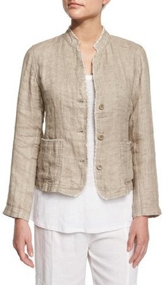 Eileen Fisher Linen Button-Front Jacket with Raw Edges $298 thestylecure.com