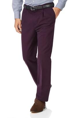 Charles Tyrwhitt Wine Classic Fit Single Pleat Non-Iron Cotton Chino Pants Size W32 L30