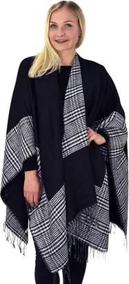 Couture Peach Womens Thick Warm Geometric Striped Poncho Blanket Wrap Shawl