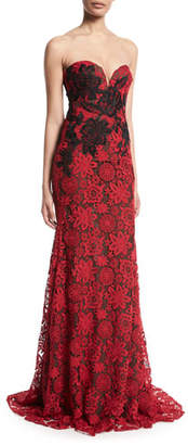 Naeem Khan Strapless Sweetheart-Neck Floral-Lace Evening Gown