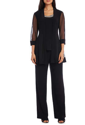 R & M Richards 2 Pc Beaded Necklace Pant Suit