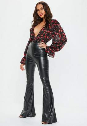 Missguided Black Faux Leather Flared Trousers