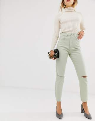 Asos Design DESIGN Farleigh high waist slim mom jeans with rip and raw hem in Mint