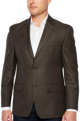 Izod Brown Houndstooth Classic Fit Sport Coat