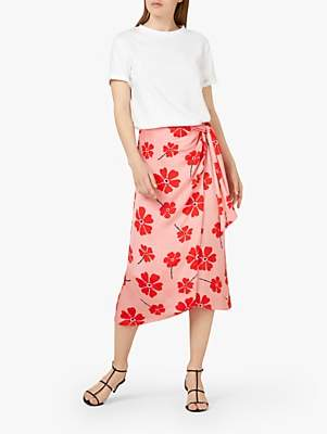 Finery Ida Knot Detail Floral Midi Skirt, Multi