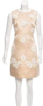 Dolce & Gabbana Floral Appliqué Silk Dress