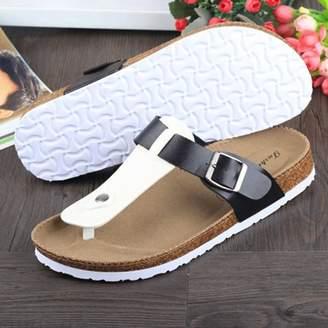 Masknan Women Buckle T Strap Sandal Footbed Sandals Flat Platform Flip Flops Shoes