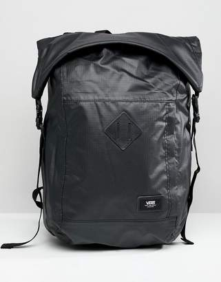 Vans Fend Roll Top Backpack In Black VA36YJBLK