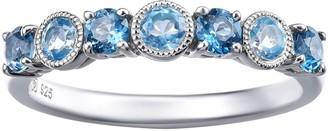Sterling Silver Round 7-Gemstone Band Ring