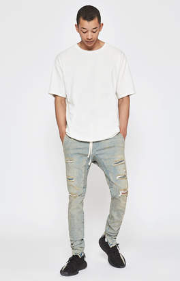 PacSun Drop Skinny Ripped Medium Denim Jogger Pants
