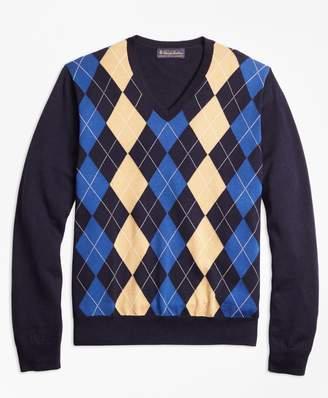 Brooks Brothers Supima Cotton Cashmere Argyle V-Neck Sweater