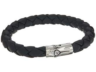 John Hardy Bamboo 8mm Station Bracelet in Black Leather