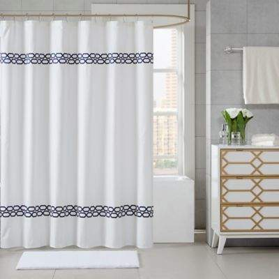 Madison Park Signature Chainlink 72-Inch Shower Curtain in Navy