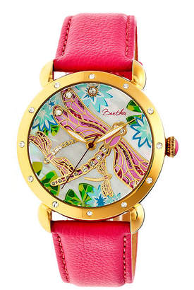 Mother of Pearl BERTHA Bertha Womens Jennifer Mother-Of-Pearl Hot Pink Leather-Band Watchbthbr5004