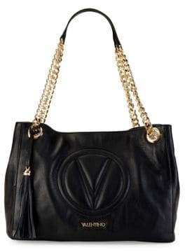 Mario Valentino Verra Leather Chain Logo Shoulder Bag