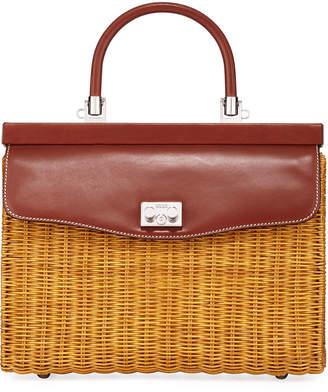 Rodo Wicker Frame Top Handle Bag