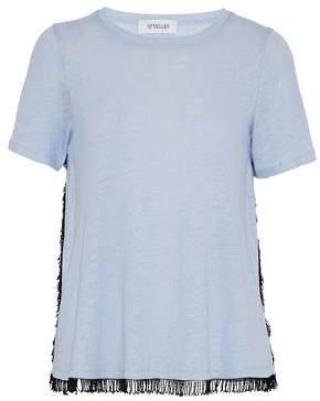Derek Lam 10 Crosby Fringe-Trimmed Slub Linen-Jersey T-Shirt