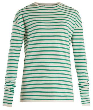 Barrie - Thistle Striped Cashmere Sweater - Womens - Green White