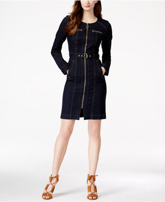 INC International Concepts Denim Zip-Front Shirtdress, Only at Macy's $119.50 thestylecure.com