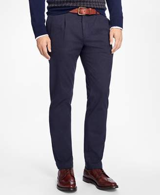 Brooks Brothers Slim-Fit Brushed-Flannel Pleat-Front Stretch Chinos