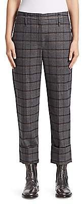 Brunello Cucinelli Women's Shiny Windowpane Wide-Leg Pants