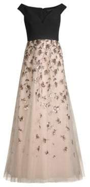 BCBGMAXAZRIA Embellished Evening Gown