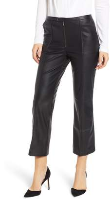 David Lerner Pintuck Flare Faux Leather Trousers