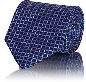 Barneys New York Men's Interlocked-Circles Silk Satin Necktie - Wine