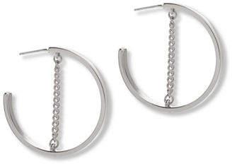 Steve Madden Small Open Hoop Chain Earrings