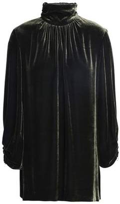 Mother of Pearl Ruched Velvet Turtleneck Top