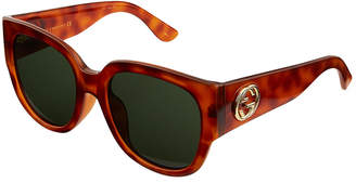 Gucci Oversized Round Havana Acetate Sunglasses