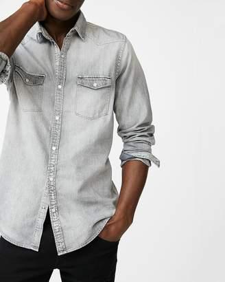 Express Slim Washed Gray Western Denim Shirt