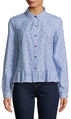 Tommy Hilfiger Star-Print Peplum Button-Down Shirt