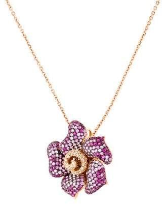 18K Sapphire & Diamond Flower Pendant Necklace