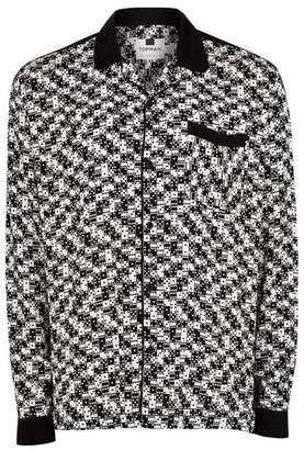 Topman Mens Black Domino Revere Long Sleeve Shirt