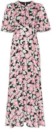 Les Reveries floral print front slit silk midi dress