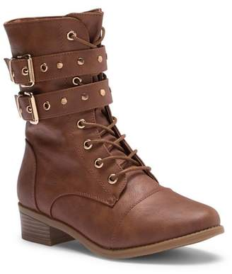 Top Moda Dual Buckle Combat Boot