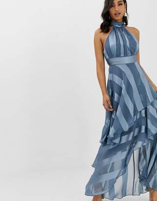 Asos Design DESIGN high neck tiered maxi dress in sheer and solid stripe