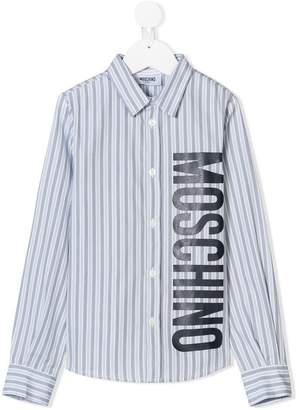 Moschino Kids logo printed striped shirt