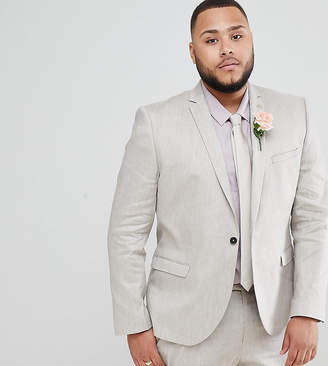 Twisted Tailor Wedding Suit Jacket In Grey Linen