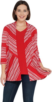 Susan Graver Printed Liquid Knit Cardigan and Tank Set