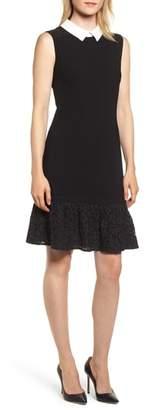 Karl Lagerfeld PARIS Sleeveless Ruffle Hem Sheath Dress