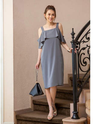 STYLE DELI (スタイル デリ) - Style Deli Max80%Off グレー STYLE DELI DRESS ショルダー2WAY胸元フリルワンピース