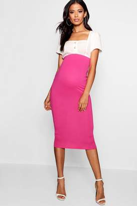 boohoo Maternity Over The Bump Midi Skirt